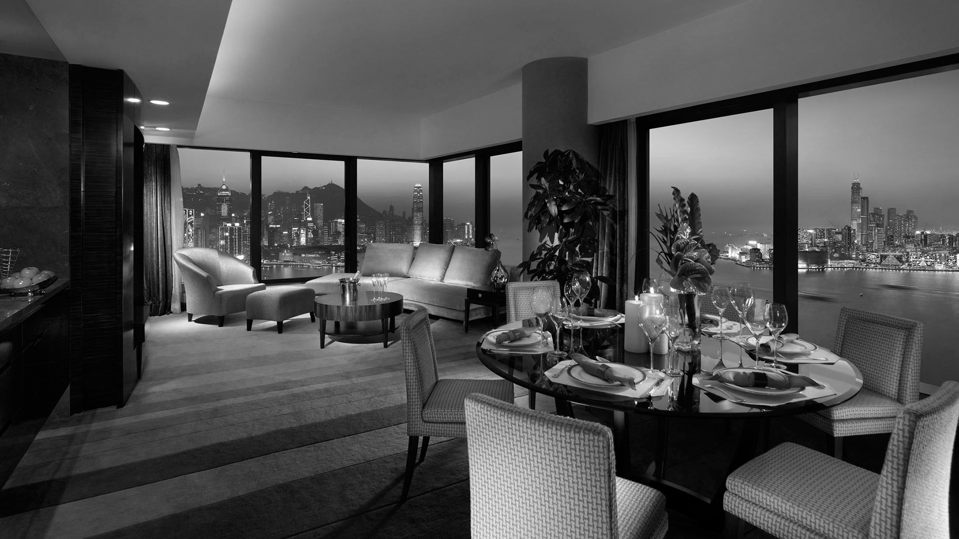 luxury hotel room with view of hong kong